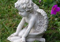Small Garden Fairy Statues Cherub Reading Book Ornament